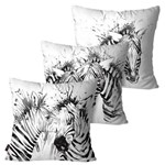 Kit com 3 Capas para Almofadas Decorativas Branco Zebras