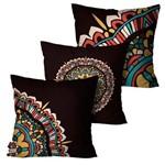 Kit com 3 Capas para Almofadas Decorativas Café Mandala