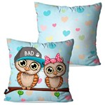 Kit com 2 Capas para Almofadas Decorativas Infantil Azul Corujas Love