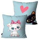 Kit com 2 Capas para Almofadas Decorativas Infantil Azul Gatos Love
