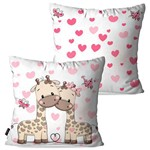 Kit com 2 Capas para Almofadas Decorativas Infantil Branco Girafas Love