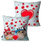 Kit com 2 Capas para Almofadas Decorativas Infantil Vermelho Corujinhas Love