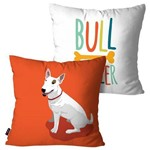 Kit com 2 Capas para Almofadas Decorativas Laranja Cachorro Bull Terrier