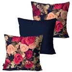Kit com 3 Capas para Almofadas Decorativas Marinho Dark And Flowers