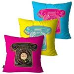 Kit com 3 Capas para Almofadas Decorativas Pink Telefones