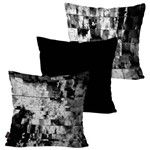 Kit com 3 Capas para Almofadas Decorativas Preto Black And White