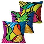 Kit com 3 Capas para Almofadas Decorativas Preto Romero Brito