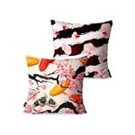 Kit com 2 Capas para Almofadas Decorativas Rosa Carpas Cerejeiras