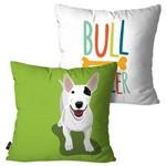 Kit com 2 Capas para Almofadas Decorativas Verde Cachorro Bull Terrier