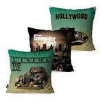 Kit com 3 Capas para Almofadas Decorativas Verde Cinema Hollywood