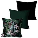 Kit com 3 Capas para Almofadas Decorativas Verde Folhas e Flores