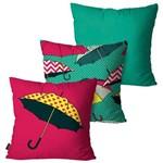 Kit com 3 Capas para Almofadas Decorativas Verde Guarda-chuvas