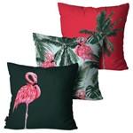 Kit com 3 Capas para Almofadas Decorativas Vermelho Flamingo Summer