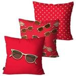 Kit com 3 Capas para Almofadas Decorativas Vermelho Óculos