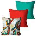 Kit com 3 Capas para Almofadas Decorativas Vermelho Tropical Araras