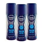 Kit com 3 Desodorantes Nívea For Men Fresh Active Spray 90mL