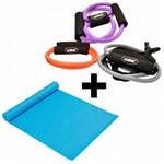 Kit com 3 Extensores Multi Funcao Tensao Media + Colchonete Azul Liveup