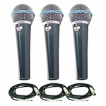 Kit com 3 Microfones Arcano Beta58 (bt-58) Osme8 Xlr-p10