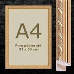 Kit com 2 Molduras Trabalhadas Dourada A4 Sem Vidro Quadro 21x30cm