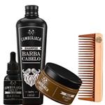 Kit com Pente Shampoo Oleo Balm para Barba Super Completo Lady Iv