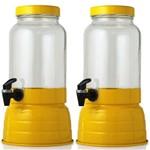 Kit com 2 - Suqueira Amarela de 3,6 Litros em Vidro, Base e Tampa em Alumínio Torneira Preta