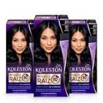 Kit com 3 Tinturas Koleston Retoque de Raiz Preto Azulado