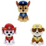 Kit com 3 Ty Beanie Boos Patrulha Canina Marshall/Rubble/Chase - Original Dtc