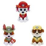 Kit com 3 Ty Beanie Boos Patrulha Canina Marshall/Rubble/Tracker - Original Dtc