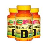 Kit com 3 Vitamina D Colecalciferol 60 Cápsulas Unilife