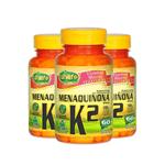 Kit com 3 Vitamina K2 Menaquinona Mk7 60 Cápsulas Unilife