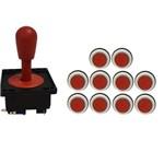 Kit Comando Aegir 10 Botões Corpo Branco - Vermelho