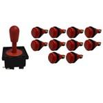 Kit Comando Aegir 10 Botões de Nylon - Vermelho