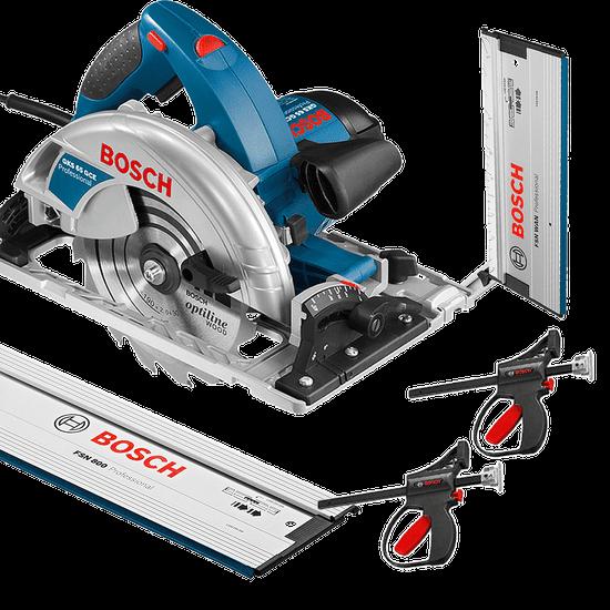 Kit Combo Serra Circular GKS 65 GCE + Trilho de 80cm FSN 800 + Acessórios - Bosch - 220 Volts