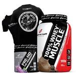 Kit Combo Whey Protein 100% 900g + Pre Treino + Camisa Preta