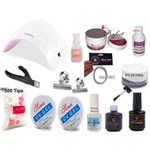 Kit Completo Unhas Fibra Manicure + Cabine + Kit Gel Acrygel + Prep Bond