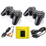 Kit 2 Controles Ps2 + Cabo Energia + Cabo Av + M. Card 16mb