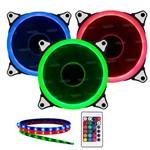 Kit Coolers 3x 120mm + Fita Led + Controle Troca Cor Dx-123l