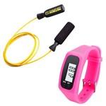 Kit Corda de Pular em Aço Revestido Amarela Pretorian + Relógio Pedômetro Rosa Liveup Ls3348r