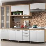 Kit Cozinha 6 Módulos Multimóveis com Vidro Toscana 5722 Argila/Branco/Branco