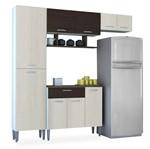 Kit Cozinha Compacta com Paneleiro, Branco com Arena e Ébano, Ariel