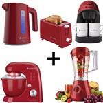 Kit Cozinha Moderna Cafeteira + Torradeira + Liquidificador + Chaleira + Batedeira Vermelho 127V