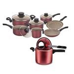 Kit Cozinha Panela de Pressão 4.5 Litros C/Visor com Conjunto de Panelas Paris 7 Peças Tramontina