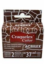 Kit Craquelex Color 2 Frascos 37 Ml Cada Acrilex Castanho Claro 815