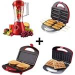 Kit Crepeira+máquina Waffle+liquidifica+sanduicheira Cadence 127V