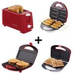 Kit Crepeira+máquina Waffle+torradeira+sanduicheira Cadence 127V