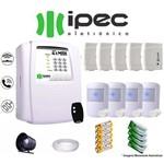 Kit de Alarme Residencial IPEC 5 Sensores Magnéticos 4 Sensores Infravermelho S/ Fio C/ Cabo