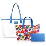 Kit de Bolsa 3 em 1 Necessarie Bolsinha Praia Piscina Transparente Colection Aquarela Jacki Design a