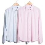 Kit de 2 Camisas de Algodão S/ Bolso - Azul Claro e Rosa Claro