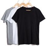 Kit de 3 Camisetas Básicas com Bolso Preta, Branca e Cinza