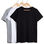 Kit de 3 Camisetas Gola V Preta, Branca e Cinza